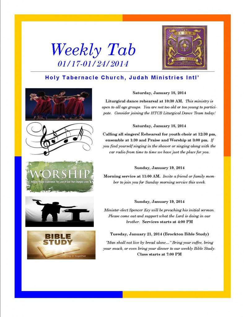 Weekly Tab 1.18.13
