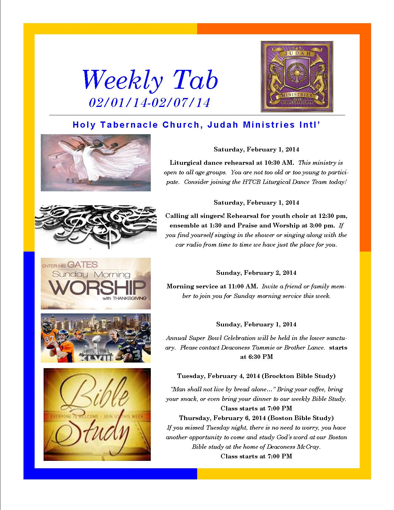 Weekly tab brochure
