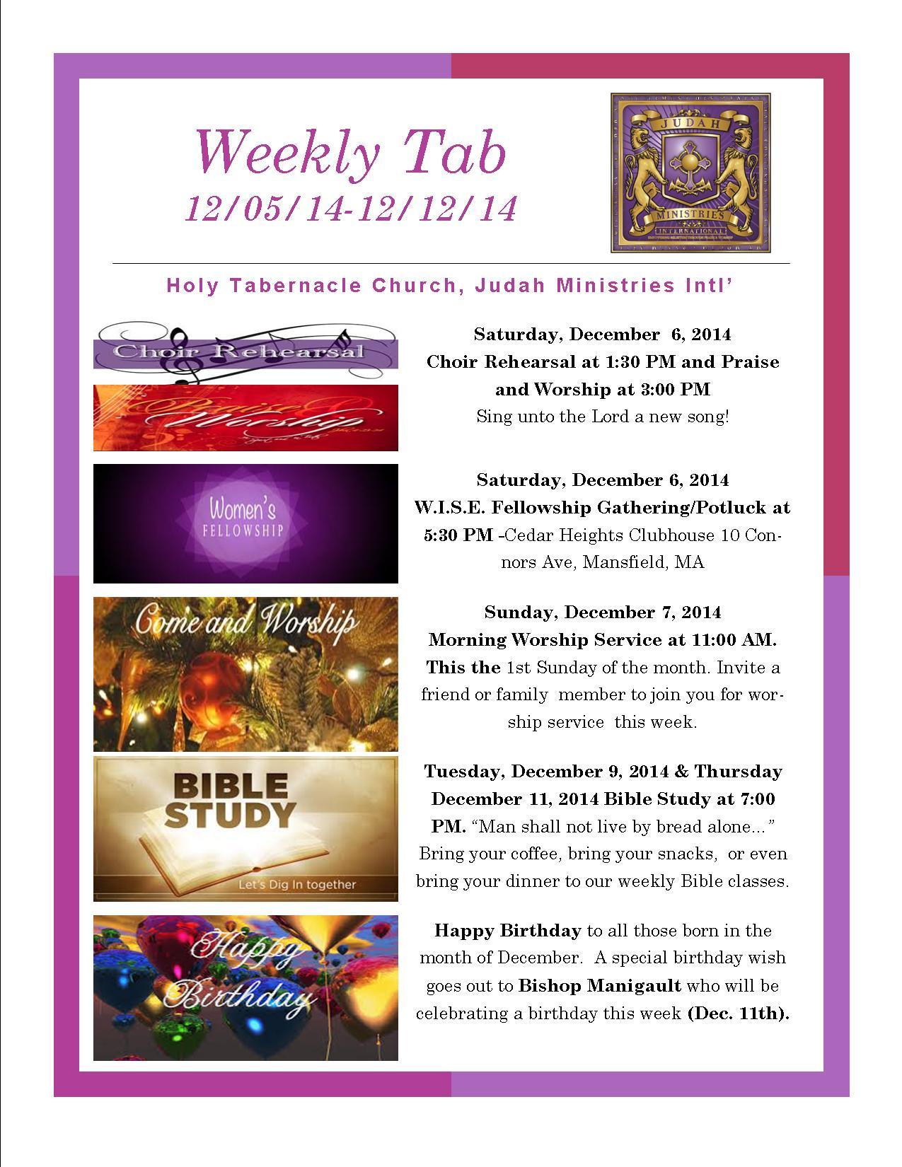 Weekly Tab 12.05.14